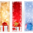 Three christmas banners with gift boxes and snowflakes. Vector illustration. — Stock Vector