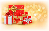 Christmas gold background with gift box and snowflake. Vector illustration. — Stock Vector