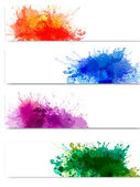 Collection of colorful abstract watercolor banners. Vector — Stock Vector