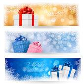 セット冬のクリスマスのギフト用の箱と雪片バナーします。ベクトル イラスト — ストックベクタ