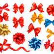 Big set of colour gift bows with ribbons. Vector illustration. — Stock Vector
