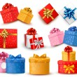 Set of colorful gift boxes with bows and ribbons. Vector illustr — Векторная иллюстрация