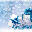 Christmas blue background with gift boxes and snowflake. Vector - Stock Vector