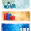 Three christmas banners with gift boxes and snowflakes. Vector i - Stock Vector