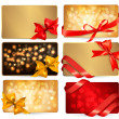 Set of beautiful gif cards with red gift bows with ribbons Vecto - Stock Vector
