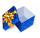 Opened blue gift box with golden ribbon. Vector illustration. — Vector de stock