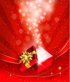 Kerstmis achtergrond met open geschenkdoos. vector. — Stockvector