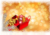 Christmas background with open gift box with presents. Vector. — Διανυσματικό Αρχείο