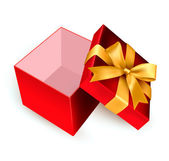 Open red gift box with golden ribbon. Vector illustration. — Wektor stockowy