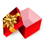 Open red gift box with golden ribbon. Vector illustration. — Stok Vektör