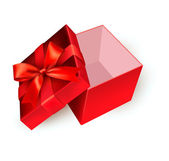 Open red gift box with golden ribbon. Vector illustration. — Stock vektor