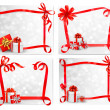 Stock Vector: Set of holiday backgrounds with red gift bow with gift boxes. Ve