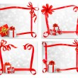 Set of holiday backgrounds with red gift bow with gift boxes. Ve — Stock Vector #15677117