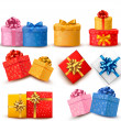 Collection of color gift boxes with bows and ribbons. Vector ill — Vector de stock