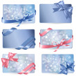 Set of colorful Gift cards with gift bows with ribbons Vector — Stock Vector