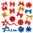 Big collection of color gift bows with ribbons. Vector illustrat — Vector de stock
