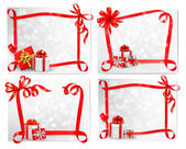 Set of holiday backgrounds with red gift bow with gift boxes. Ve — Stock Vector
