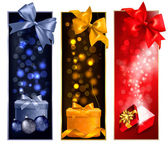 Three christmas banners with gift boxes and snowflakes. Vector i — Stock Vector
