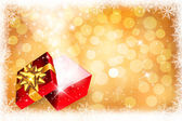 Christmas background with open gift box. Vector. — Vector de stock