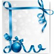 Holiday background with blue gift bow with gift ball. Vector ill — Stock Vector
