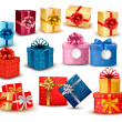 Set of colorful gift boxes with bows and ribbons. Vector illustr - Imagen vectorial