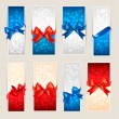 Set of colorful Gift cards with gift bows with ribbons. Vector — Stock Vector