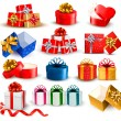 Set of colorful gift boxes with bows and ribbons. Vector illustr — ストックベクタ #16486719