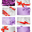 Set of beautiful gif cards with red gift bows with ribbons Vecto — 图库矢量图片