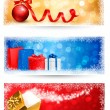 Stock Vector: Three christmas banners with gift boxes and snowflakes. Vector i