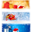 Three christmas banners with gift boxes and snowflakes. Vector i — Stock Vector #16486853