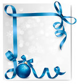 Holiday background with blue gift bow with gift ball. Vector ill — Stock vektor