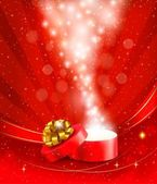 Christmas background with open gift box. Vector. — Stock Vector