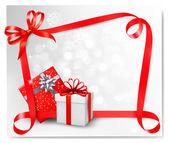 假日与红色礼品蝴蝶结礼品盒与背景。矢量病 — 图库矢量图片