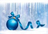 青いギフト弓ギフト ボールと休日の背景。ベクトル病気 — ストックベクタ