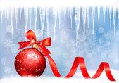 Tło wakacje z kokardą czerwony prezent prezent piłkę. pokazanego wektor — Wektor stockowy
