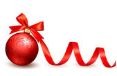 Holiday background with red gift bow with gift ball. Vector illu — Διανυσματικό Αρχείο