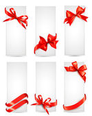 Set of beautiful cards with red gift bows with ribbons Vector — Stock Vector