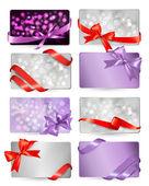 Σετ των καρτών όμορφο gif με κόκκινο δώρο τόξα με κορδέλες vecto — Διανυσματικό Αρχείο