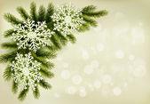 Boże narodzenie retro tło z gałęzi choinki i śnieg — Wektor stockowy
