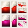 Set of beautiful Gift cards with red and pink gift bows with rib — Stockvectorbeeld
