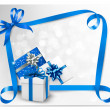 Holiday background with blue gift bows with blue ribbons. Vector — Stock Vector