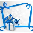 Holiday background with blue gift bows with blue ribbons. Vector - Stock Vector