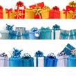 Collection of holiday banners with colorful gift boxes with bows — Imagen vectorial
