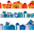 Collection of holiday banners with colorful gift boxes with bows — 图库矢量图片