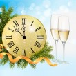 Holiday blue background with champagne glasses and clock . Vecto — Stock Vector