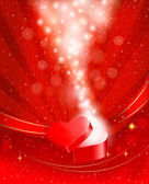 Valentine`s day background with open red gift box with bow and r — Stockvektor