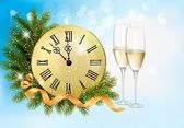 Holiday blue background with champagne glasses and clock . Vecto — Vector de stock