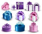 σύνολο πολύχρωμο δώρο κουτιά με φιόγκους και κορδέλες. διάνυσμα illustr — Διανυσματικό Αρχείο