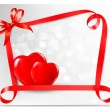 Valentine background with two red hearts and gift bow and ribbon — Stock Vector