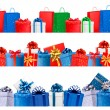 Set of shopping banners with gift colorful boxes with bow and ri - Stock Vector